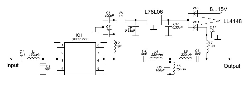 схема усилителя на 144 MHz