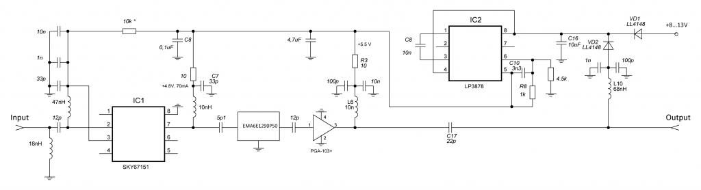 Принципиальная схема LNA-23cm-SKY67151