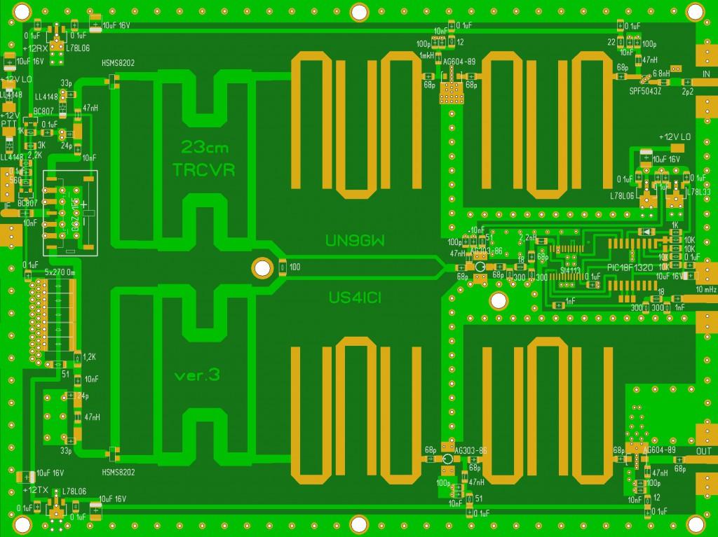 Плата Transverter 23cm US4ICI, FR4, 1 mm (с металлизацией отверстий)