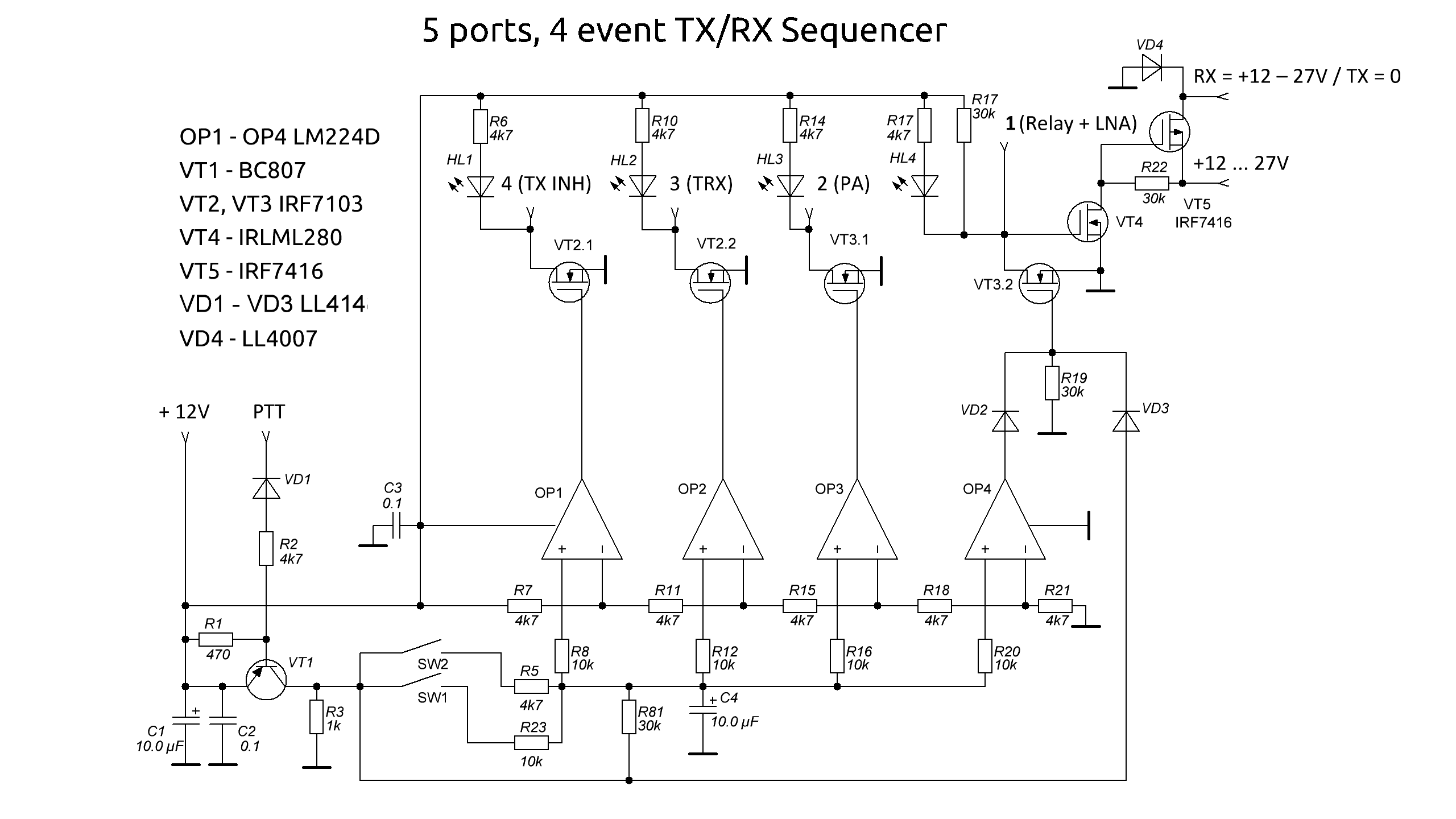 Sequencer Pcb For Lna Pa Rf Relays Transceiver Vhf Design Wiring Diagram Schematic Circuit