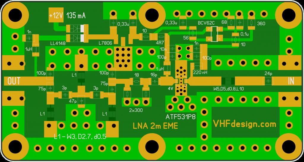 Плата LNA 2m, ATF-531P8