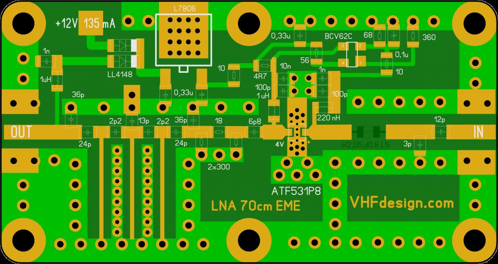 LNA 70cm ATF-531P8 with MSL inductances