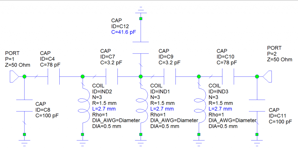 Схема фильтра LNA 2m ATF531P8 в проекте MWO