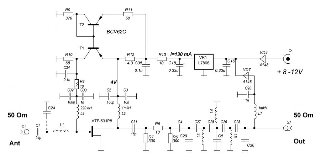 LNA 2m (70cm) ATF-513P8 schematic circuit