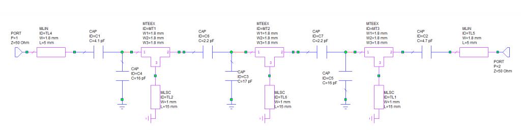 Схема фильтра LNA 2m