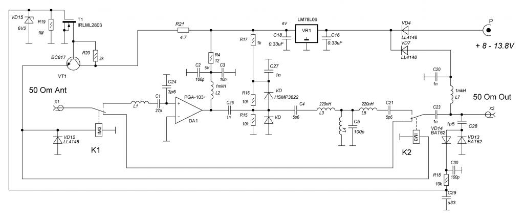 LNA 2m RF VOX schematic circuit