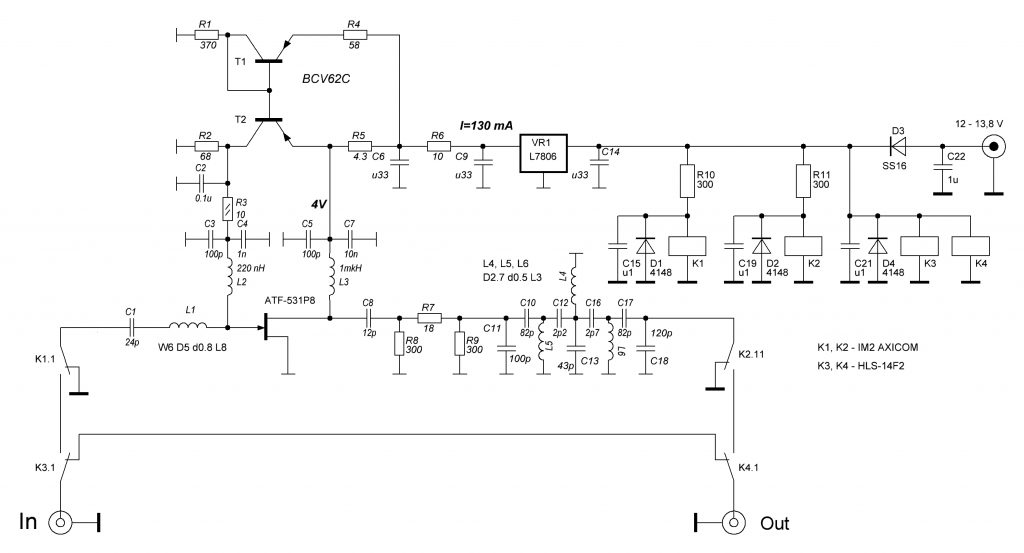 LNA 2m QRO schematics revision from 2018-05-12