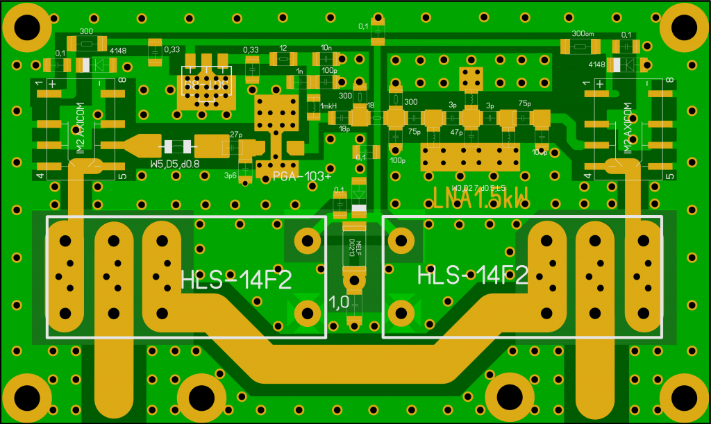 LNA 2m QRO PGA-103 based layout