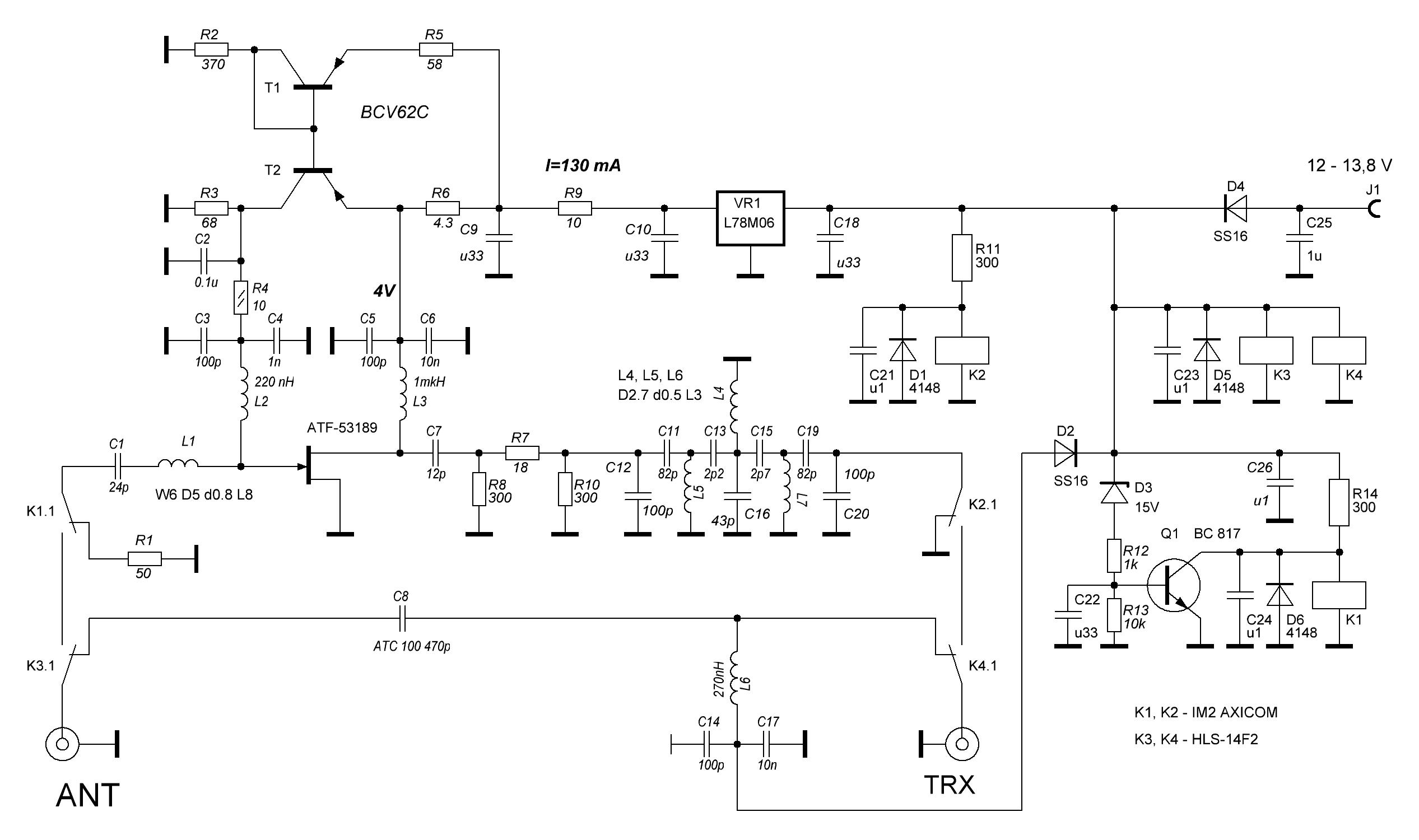 LNA 2m QRO schematics revision from 2021-06-05