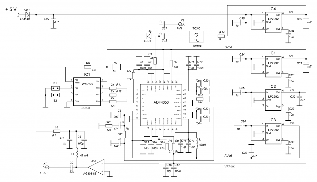 PCB LO PLL ADF4350 schematic diagram