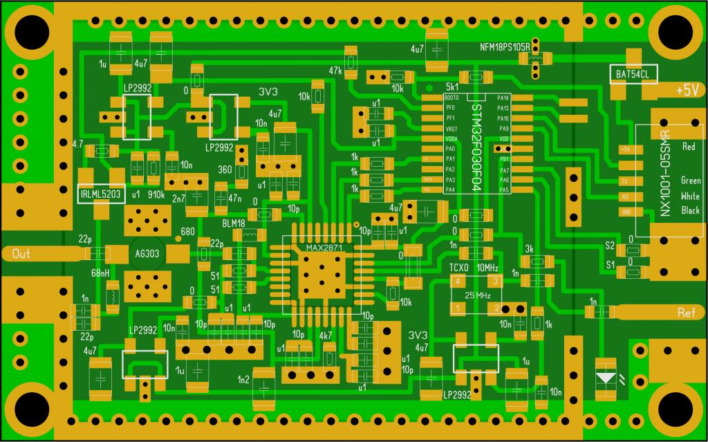 PLL USB MAX2871 layout